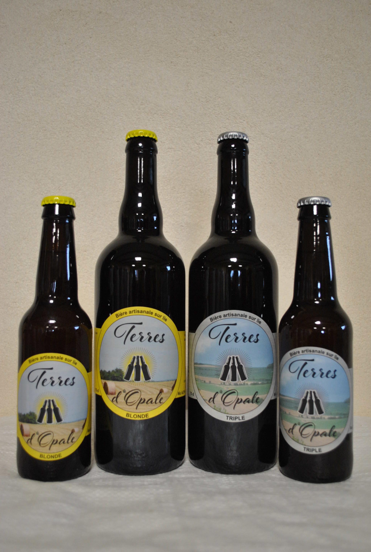 bouteilles bières blonde et triple Terres d'Opale