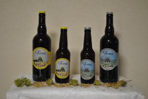 bières blonde et triple Terres d'Opale , houblon et malt